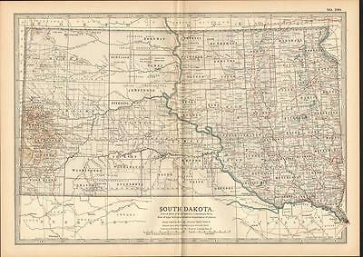 1903 Map ~ Usa ~ State Of South Dakota ~ Cheyenne River Indian Reservations Etc