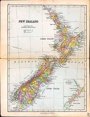 1887 Map ~ New Zealand ~ North & South Island Cook Wellington Port Nicholson