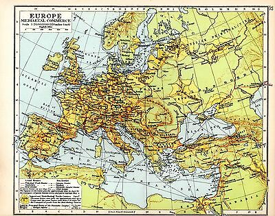 Historical Map ~ Europe Medieval Commerce ~ Land & Sea Routes Trade Centres