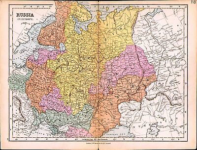 1887 Map ~ Russia In Europe ~