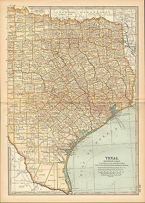 1903 Map ~ Texas ~ Eastern Part