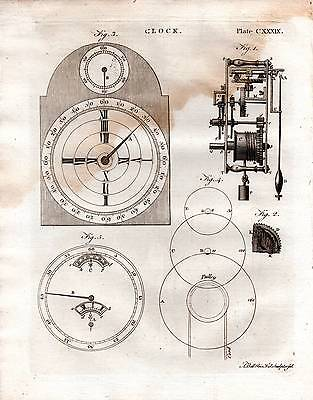 1797 Print ~ Horology Clock Face Dial Gears Pendulum Workings Profile