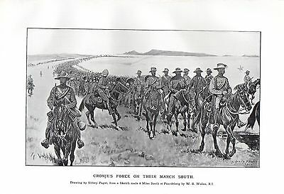 1900 Boer War Print ~ Cronje's Force March South British Escort Huge Train