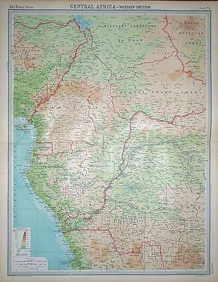 """1920 LARGE MAP ~ CENTRAL AFRICA ~ WESTERN SECTION ~ 23"""" x 18"""""""