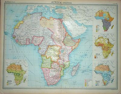 """1920 LARGE MAP ~ AFRICA ~ POLITICAL ~ WITH RACES RAINFALL POPULATION ~ 23"""" x 18"""""""