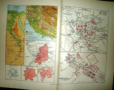 Map & Plans Ancient Egypt Rome Latium Time Of Emperors & Republic Quadrata Forum