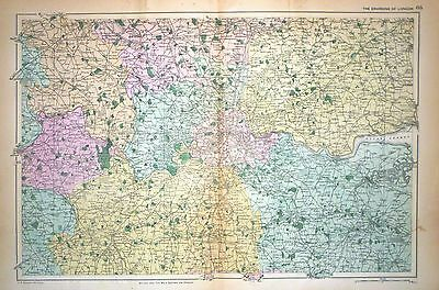 1899 Large Victorian Map ~ Environs Of London Middlesex Surrey Kent Essex