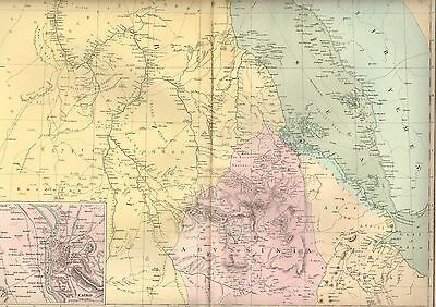 1891 Large Victorian Map ~ Egypt ~ Abyssinia Inset Environs Of Cairo