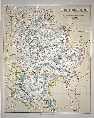 1901 Large Victorian County Map ~ Bedfordsire ~ Biggleswade  Luton Bedford