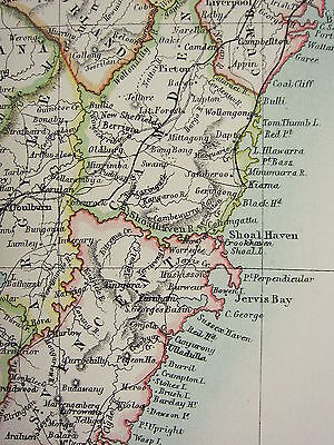 1897 Large Antique Map ~ Australia ~ New South Wales Eastern Section