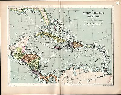 1903 Map ~ West Indies ~ Central America States Jamaica Panama Costa Rica