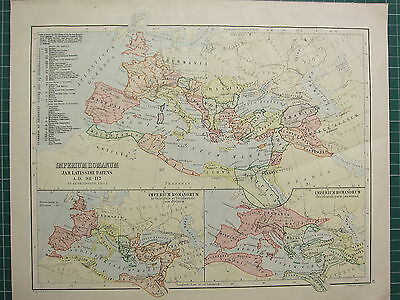 c1890 ANCIENT MAP ~ IMPERIUM ROMANUM ROMAN EMPIRE (A.D 98-117) WESTERN & EASTERN