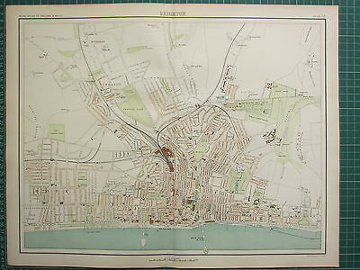 1897 Large Victorian Map ~ Brighton City Street Plan Environs Pier Buildings
