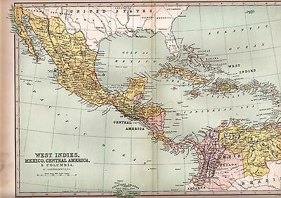 1875 Victorian Map ~ West Indies Mexico Central America ~ Columbia Cuba Bahama
