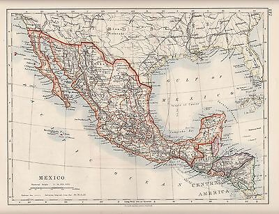 1921 Map ~ Mexico ~ Central America Guatemala Honduras Lower California