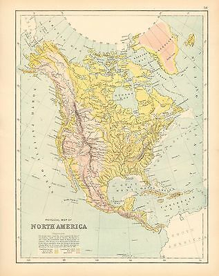 c1900 VICTORIAN MAP ~ PHYSICAL MAP OF NORTH AMERICA ~ SHOWING LAND HEIGHTS