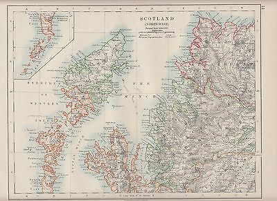 1921 Map ~ Scotland ~ North-West Hebrides Isle Of Skye Ross Cromarty Sutherland