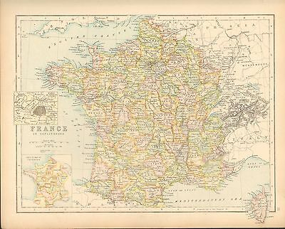 c1900 VICTORIAN MAP ~ FRANCE IN DEPARTMENTS ~ PROVINCES INSET ENVIRONS PARIS