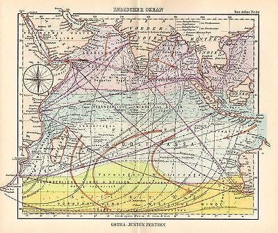 1944 Small German Mercantile Marine Map ~ The Indian Ocean