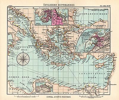 1944 SMALL GERMAN MERCANTILE MARINE MAP ~ EASTERN MEDITERRANEAN SEA ODESSA etc