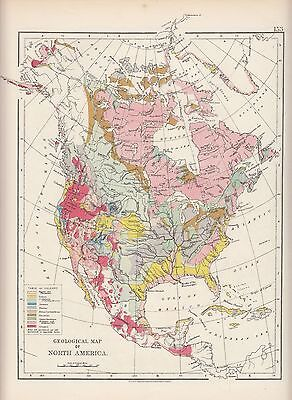 1897 Victorian Map ~ North America Geological Map Tertiary Triassic
