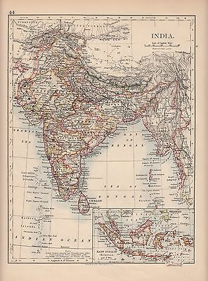 1897 Victorian Map ~ India ~ Ceylon Maras Inset East India Islands Malaysia