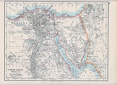 1931 Map ~ Bahaira Egypt Sinai Peninsula Of Sinai