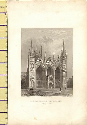c1790 ANTIQUE GEORGIAN PRINT ~ WEST FRONT OF PETERBOROUGH CATHEDRAL
