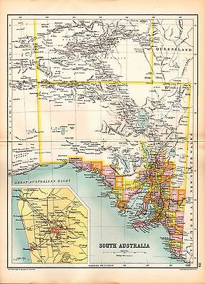 1909 Map ~ South Australia ~ Counties ~ Inset Environs Of Adelaide
