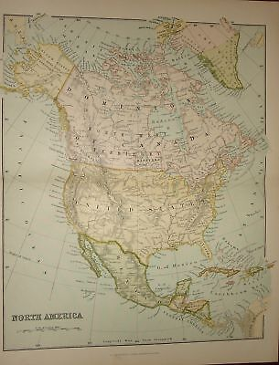 1880 ~ Map Of North America ~ Excellent Condition