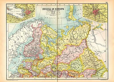 1909 Map ~ Russia In Europe ~ Northern Section Inset St Petersburg Moscow