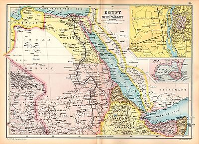 1909 Map ~ Egypt & Nile Valley ~ Inset Environs Cairo Aden ~ Tripolt Abyssinia