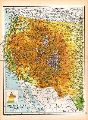 1909 Map ~ United States Western Section ~ Showing Heights Arizona New Mexico