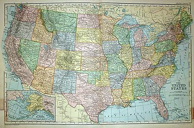 1894 LARGE VICTORIAN Map ~ United States Texas California ...