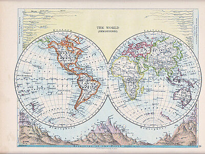 1894 Victorian Map ~ The World Western & Eastern Hemispheres Rivers & Mountains