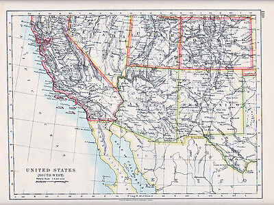1912 Map ~ United States ~ South West California Utah Nevada New Mexico Arizona