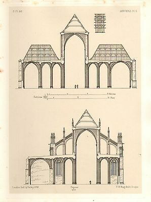 1858 Large Architecture Print ~ Anvers Cathedral Medieval Gothic Art Mediaeval