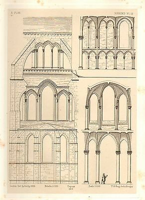 1858 Large Architecture Print ~ Rheims Cathedral Medieval Gothic Art Mediaeval