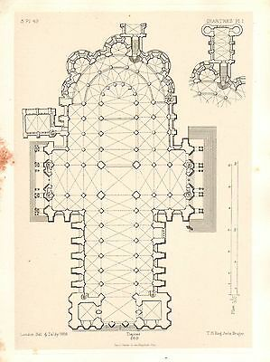 1858 Large Architecture Print ~ Chartres Cathedral Medieval Gothic Art Mediaeval