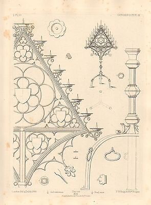 1858 Large Architecture Print Osnabruck Cathedral Medieval Gothic Art Mediaeval