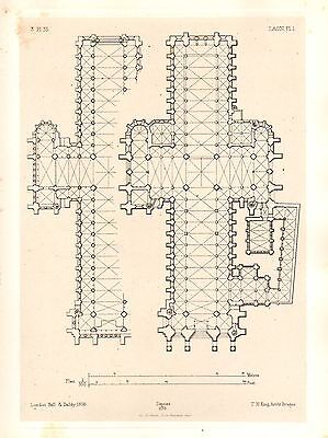 1858 Large Architecture Print ~ Laon Cathedral Medieval Gothic Art Mediaeval