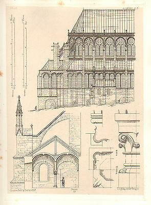 1857 Large Architecture Print ~ Auxerre Cathedral Medieval Gothic Art Mediaeval