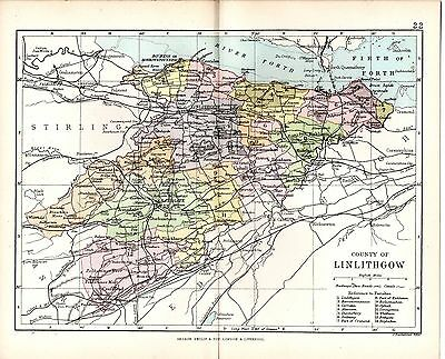 1890 Map ~ Counties Of Scotland ~ Linlithgow ~ Showing Parishes Bathgate Uphall