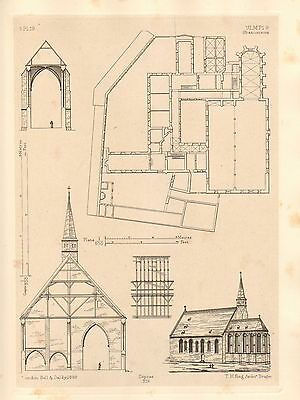 1858 Large Architecture Print ~ Ulm Cathedral Medieval Gothic Art Mediaeval