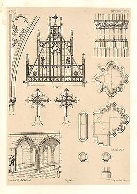 1858 Large Architecture Print ~ Herford Cathedral Medieval Gothic Art Mediaeval