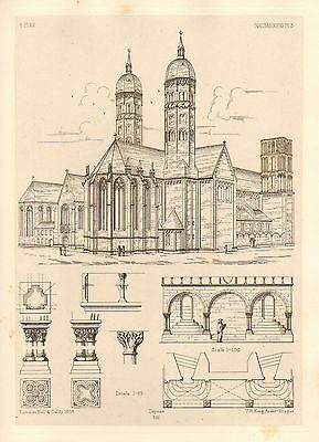 1858 Large Architecture Print Naumbourg Cathedral Medieval Gothic Art Mediaeval