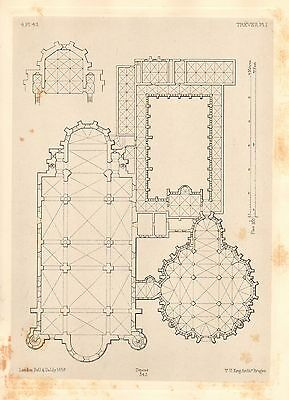 1858 Large Architecture Print ~ Treves Cathedral Medieval Gothic Art Mediaeval