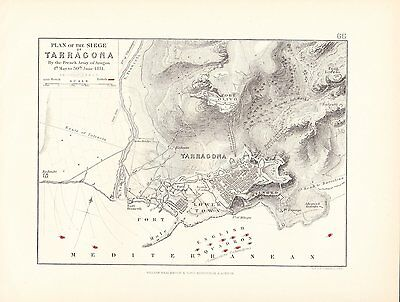 Map/Battle Plan ~ Plan Of Siege Of Tarragona By French Army Of Aragon June 1811