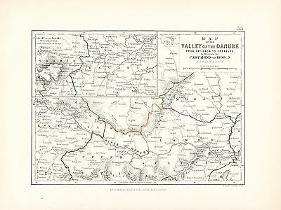 Map/Battle Plan ~ Valley Of The Danube ~ Ratisbon To Presburg Campaigns 1808-9