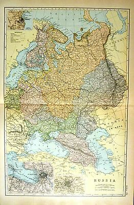 1899 LARGE VICTORIAN MAP ~ RUSSIA ~ ENVIRONS OF ODESSA St PETERSBURG & MOSCOW
